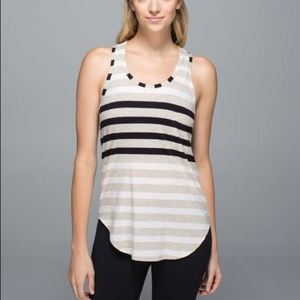LuluLemon Yogi Racerback Striped Tank Top Pocket